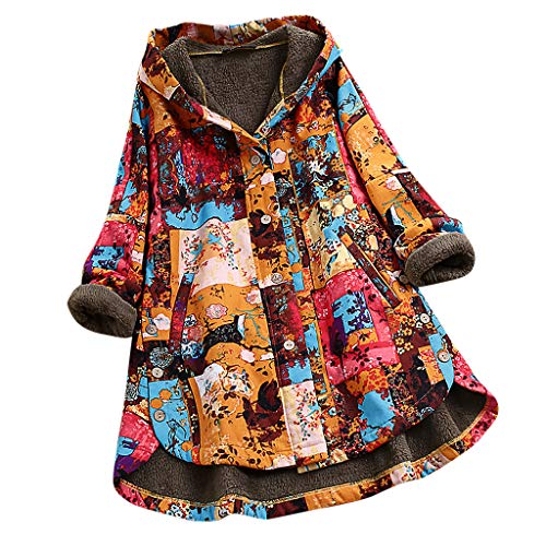 Vrouwen Vintage Hooded Jas, Dames Lange Mouw Retro Bloemen Print Asymmetrische Knop Plus Size Mode Wild Jas Overjas
