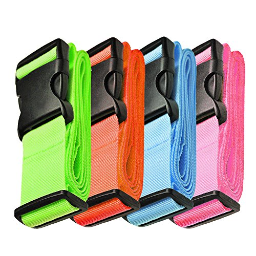 Hibate Adjustable Luggage Strap Suitcase Straps Bag Belt Travel Accessories - Multicolor, 4 Pack