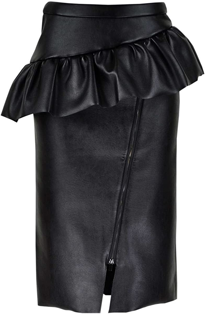 Get The Looks Asymmetric Peplum Front Zip Leather Look Pencil Skirt