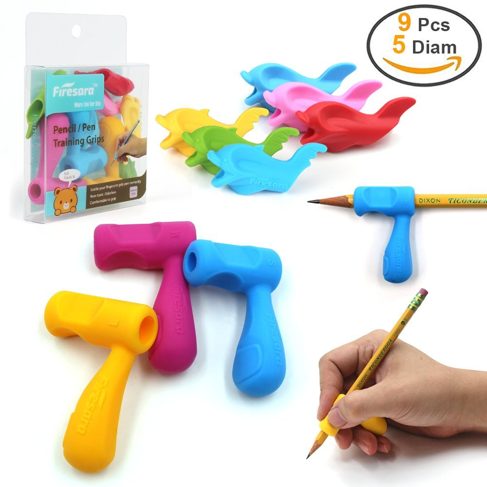 9pcs Pencil Grips,Firesara Silicone Ergonomic Writing Aid Dolphin and Handle Style Pencils Training Grip Holder for Kids Students Kindergarten Adults Right Handed The Aged Disabled Hands