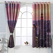 hengshu New York Soundproof Curtains for Bedroom New York City Midtown with Empire State Building at Sunset Business Center Rooftop Photo Sliding Curtains for Patio Decor W72 x L84 Inch Peach