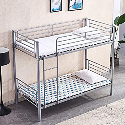 Ansley&HosHo Single Bunk Bed 3ft for Kids Metal Bunk Bed Frame with Ladder and Guardrail Household High Sleeper Loft Bunk Bed I Shape for Twins Home Children's Bedroom Cabin with Solid Steel Slat