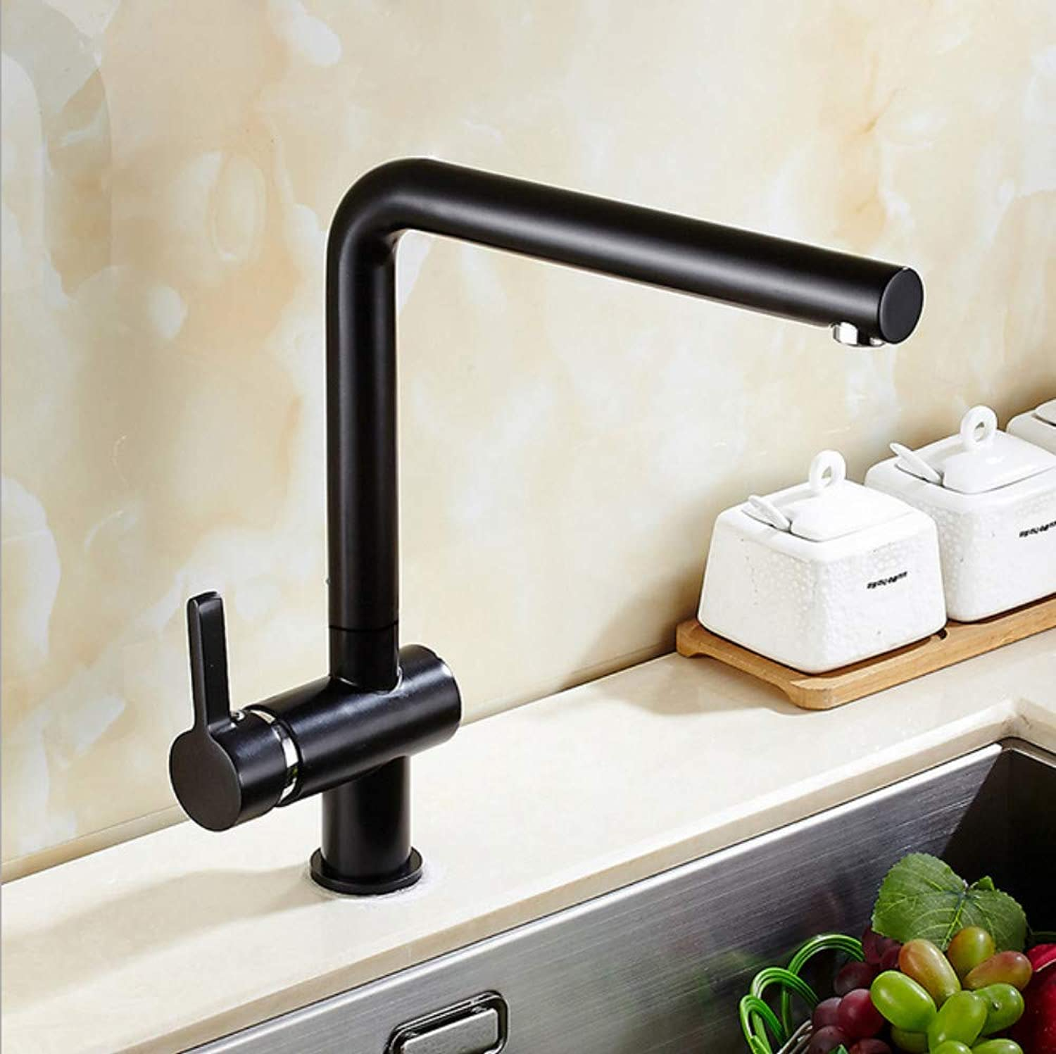Xiujie Faucet Copper Black Kitchen redatable Faucet Single Handle Single Hole Hot and Cold Bathroom Basin Faucet