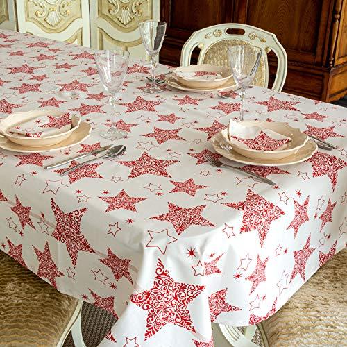 BGEUROPE - Mantel de Navidad – 100% Algodon - Ref. Red Star – 59 x 78 (150 x 200cm)