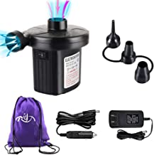 Rongyuxuan Electric Air Pump for Inflatables, Portable Quick-Fill Air Pump for Air Mattress, Swimming Rings, Airbeds, Rafts, Water Toys,110V AC & 12V DC Inflator Deflator with 3Nozzles,Storage Bag