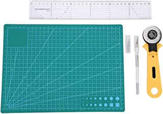 Fdit Kit de Tapis de Coupe en Cuir, 5 pièces/Ensemble Kit d'outils d'artisanat Fait Main à Coudre Ensemble d'outils de Cou...