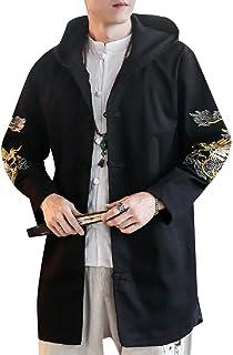 XINHEO Men Hooded Martial Arts Thigh-Length Slim Casual Duster Coat
