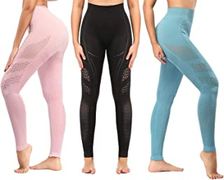 3PCS Yoga Leggings High Waist, Gym Workout Tights Athletic Pants Running for Women Compression