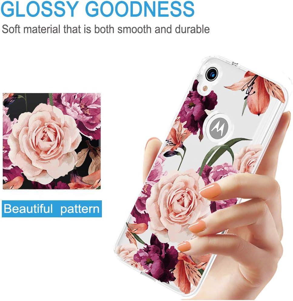 Topeiye Flowers Clear Slim Designed for Moto E6 Case, Shock-Absorption Floral Flexible Soft TPU Protective Case Cover for Motorola Moto E6 (Purple Flower)