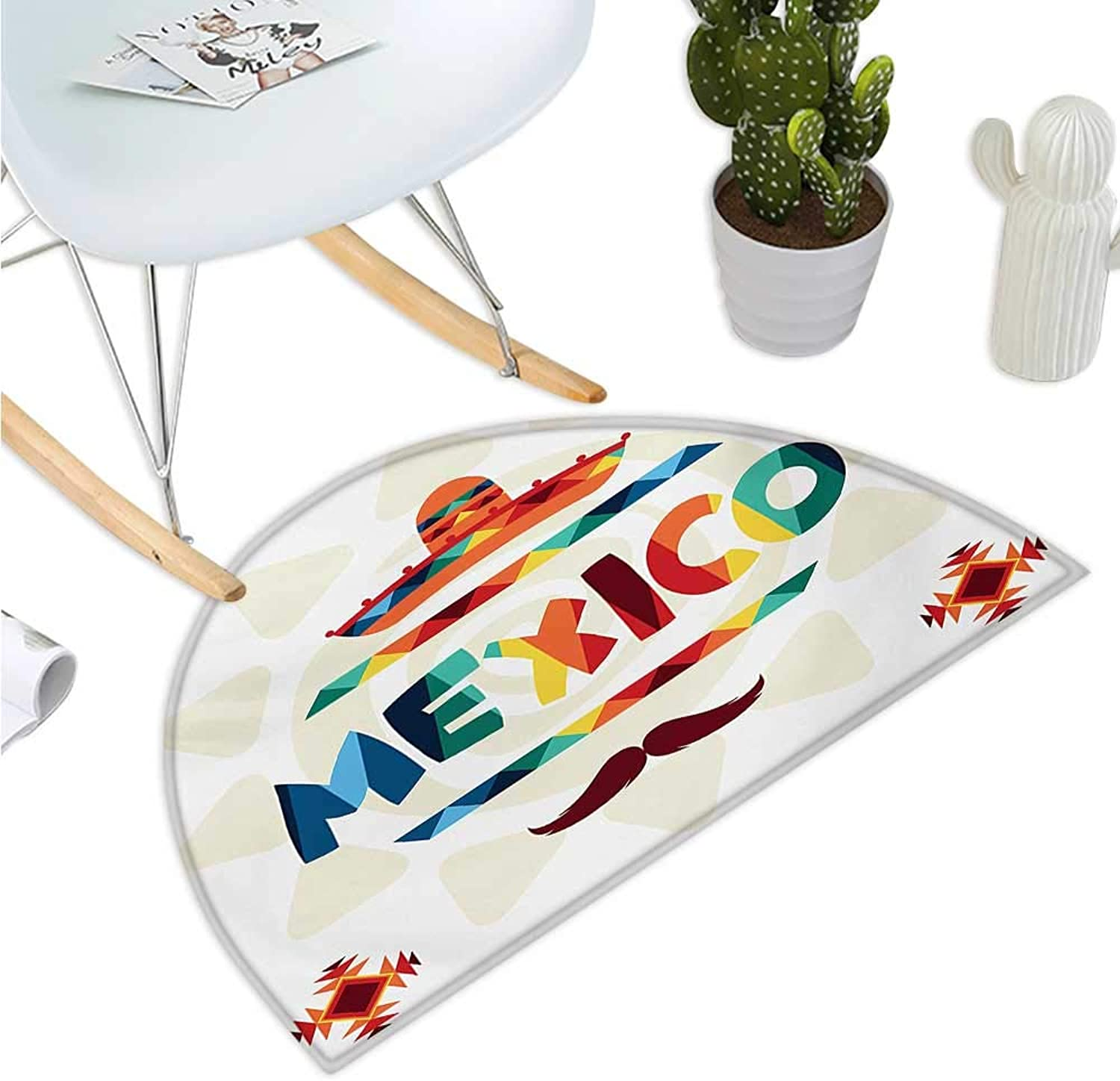 Mexican Semicircle Doormat Mexico Traditional Aztec Motifs and Sombrero Straw Hat and Moustache Graphic Print Entry Door Mat H 43.3  xD 64.9  Multicolor