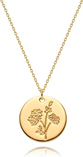 MYEARS Women Coin Necklaces Gold Birth Month Flower Bouquet Disc Round Medal Pendant Engraved Floral 14K Gold Plated Combi...