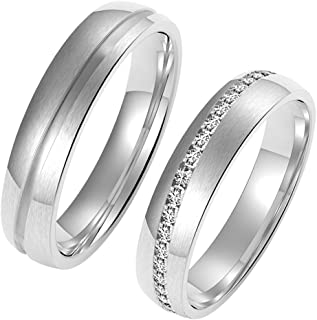 Amtier Pair of Rings Stainless Steel Rings for Men and Women with Gift Box