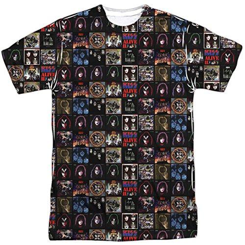 Kiss Rock Band Collection of Classic Album Covers Erwachsene T-Shirt mit Aufdruck auf Vorder- und Rückseite Gr. L, weiß