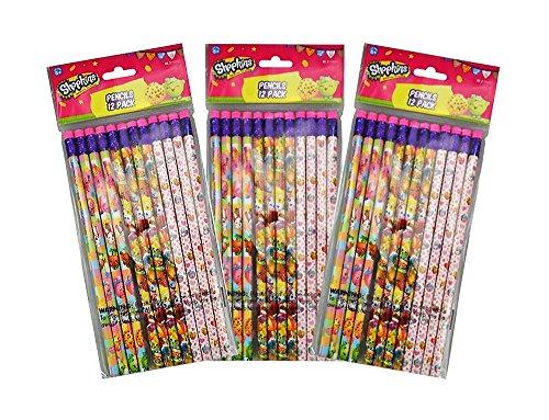 Shopkins 3-Pack 12-Count #2 Wood Pencils (36 Total)