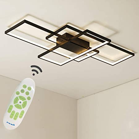 Jaycomey Dimmable Ceiling Light 3 Squares Modern Led Ceiling Lamps With Remote Control 50w Acrylic Flush Mount Ceiling Light Fixture For Living Dining Room Bedroom Kitchen Black