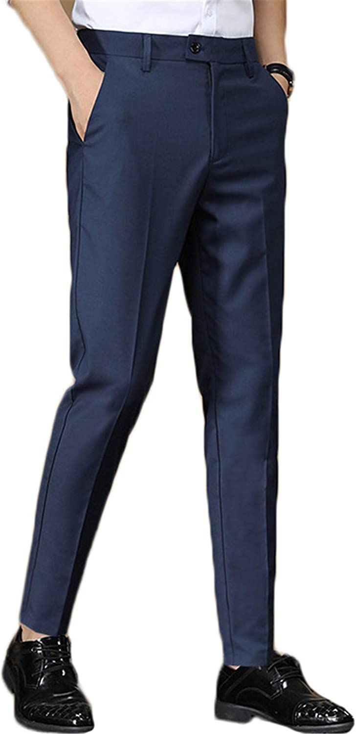 Andongnywell Men's Premium Stretch Slim Fit Pant Male Business Slim Nine Minutes Young Man Casual Trousers