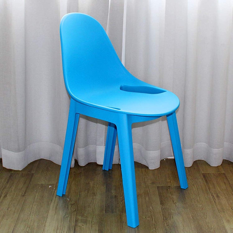 LRW European Stool Modern Thickening, Backrest Plastic Chair, Dining Chair, bluee