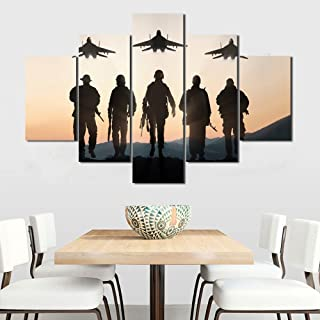 Wall Art Military Family Canvas Silhouette of American Soldiers Painting Modern Posters and Prints Pictures for Living Room, Home Decor Gallery-wrapped Set 5 Piece Framed Ready to Hang(60''Wx40''H)
