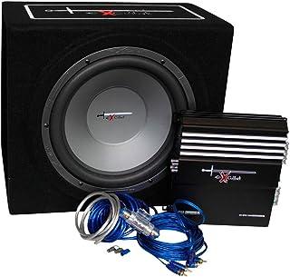 Auto-Style Excalibur X.3 Extreme - Caja de graves (30,5 cm, incluye amplificador de 1000 W, con kit de cables y caja de subwoofer), color negro y azul