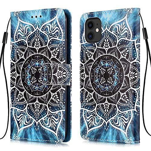 MUTOUREN Funda compatible con Samsung Galazy A71 5G Funda tipo cartera, con protector de pantalla, piel sintética, soporte para tarjetas, mandala subacuático