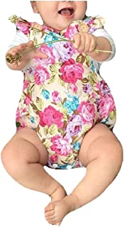 neveraway Baby Toddler Girls' Falbala Floral Overalls Rompers Bodysuit