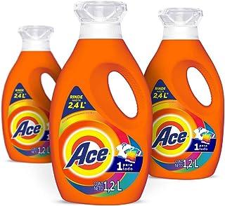 Ace Detergente Liquido Uno para Todo 3 Unidades de 1.2L,