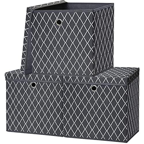 Aufbewahrungsbox mit Deckel, Groß Kiste Aufbewahrung Faltbare Aufbewahrungskorb 30x30x30cm, Aufbewahrungsboxen Pappe Faltbox Stoff für Regal Keller,Datei,Bücher,Spielzeug 3er Set