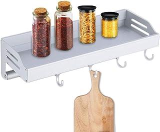 Elinala Especiero Cocina Pared, Colgador Utensilios Cocina, Rack Organizador de Pared de Aleación de Aluminio con Gancho y Barra de Toalla para Cocina y Baño (Plateado)