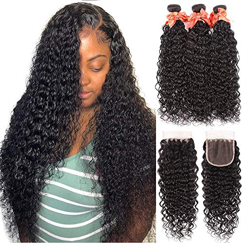 Water Wave Bundles with Closure Brazilian Curly Weave Bundles with Closure Unprocessed Wet and Wavy Bundles with 4x4 Free Part Lace Closure Human Hair Extensions Natural Color(24 26 28 +20)