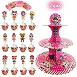 1PCS L.O.L Surprised dolls cake stand and 12 cupcake topper & 12 cupcake wrappers Party Supplies, Dessert Cupcake Holder for L.o.L doll Birthday Party,L.O.L Themed Party