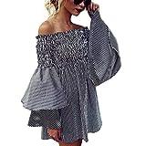 Women's Casual Dresses, Sexy Summer Off Shoulder Stripe Belle Mini Dress Loose Short Dress Teen Girls Holiday Beach Sundress Black