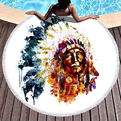 Toallas de Playa Acuarela Native American Chief Toallas de Playa Redondas de Secado rápido Blancas para Mujeres, Hombres, niños, niñas y niños