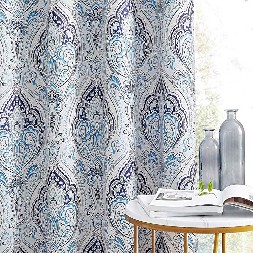 KGORGE Blackout Geometry Damask Curtains - Blue Bedroom Curtains 63 inch Length Room Darkening Curtains for Living Room Dining Room, Blue Grotto, W 52 x L 63 in, 2 Panels