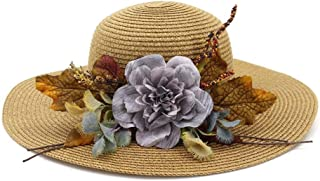 Summer hat 2019 Summer New Husk Hat Women Accessories Classic Toquilla Husk Panama Hat Dome Flower hat (Color : Coffee, Size : 56-58CM)