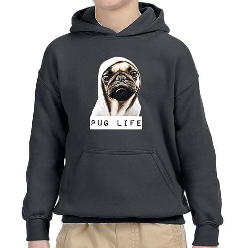Pug Life Pullover Black Hooded Sweatshirt Dog Funny