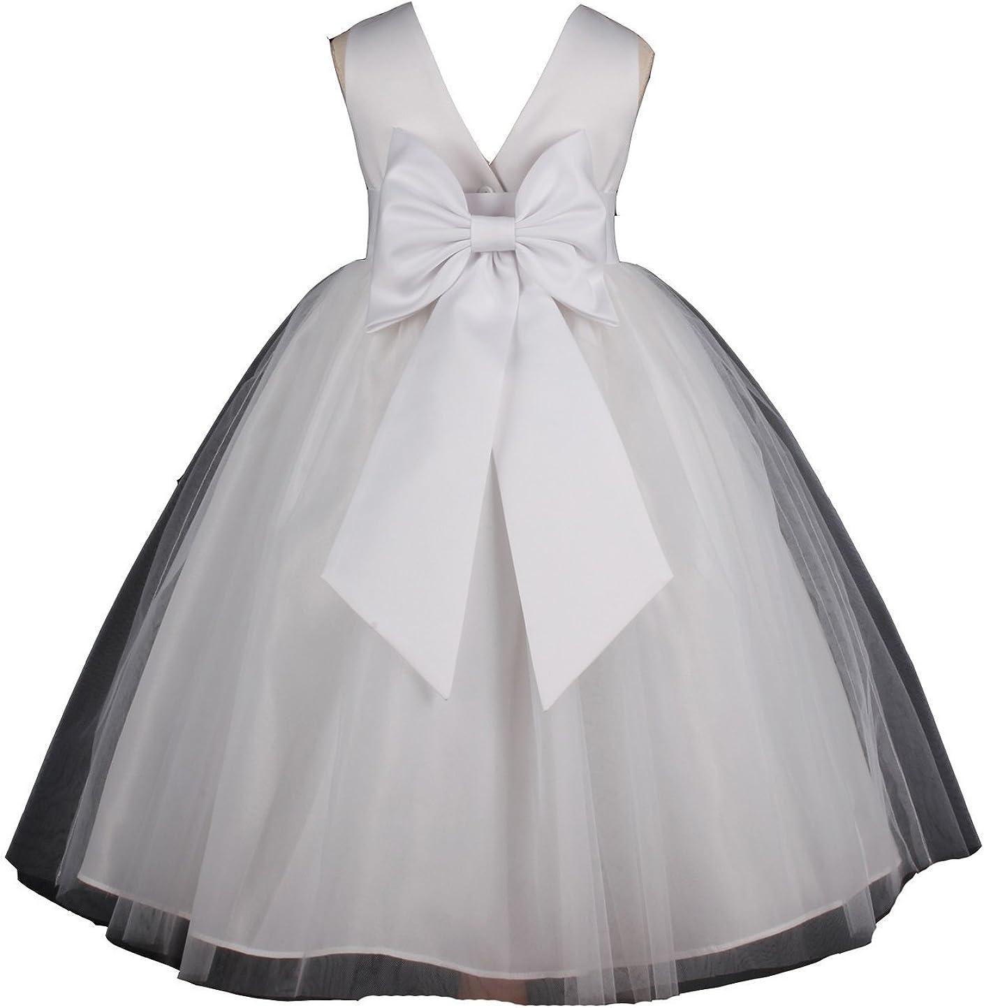 Pink Promise Flower Girl's White Wedding Pageant V-Back Ankle Length Dress