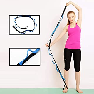 TOQI Yoga Strap for Stretching, Stretch strap Band with 12 Loops - Recommended Physical Therapy, Dynamic Stretching Tool for Athletes Including Dancers, Cheerleaders, Gymnasts, Runners, Pilates