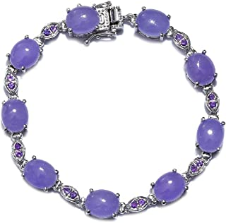 Tennis Bracelet 925 Sterling Silver Platinum Plated Dyed Color Purple Jade Amethyst Jewelry for Women Size 7.25