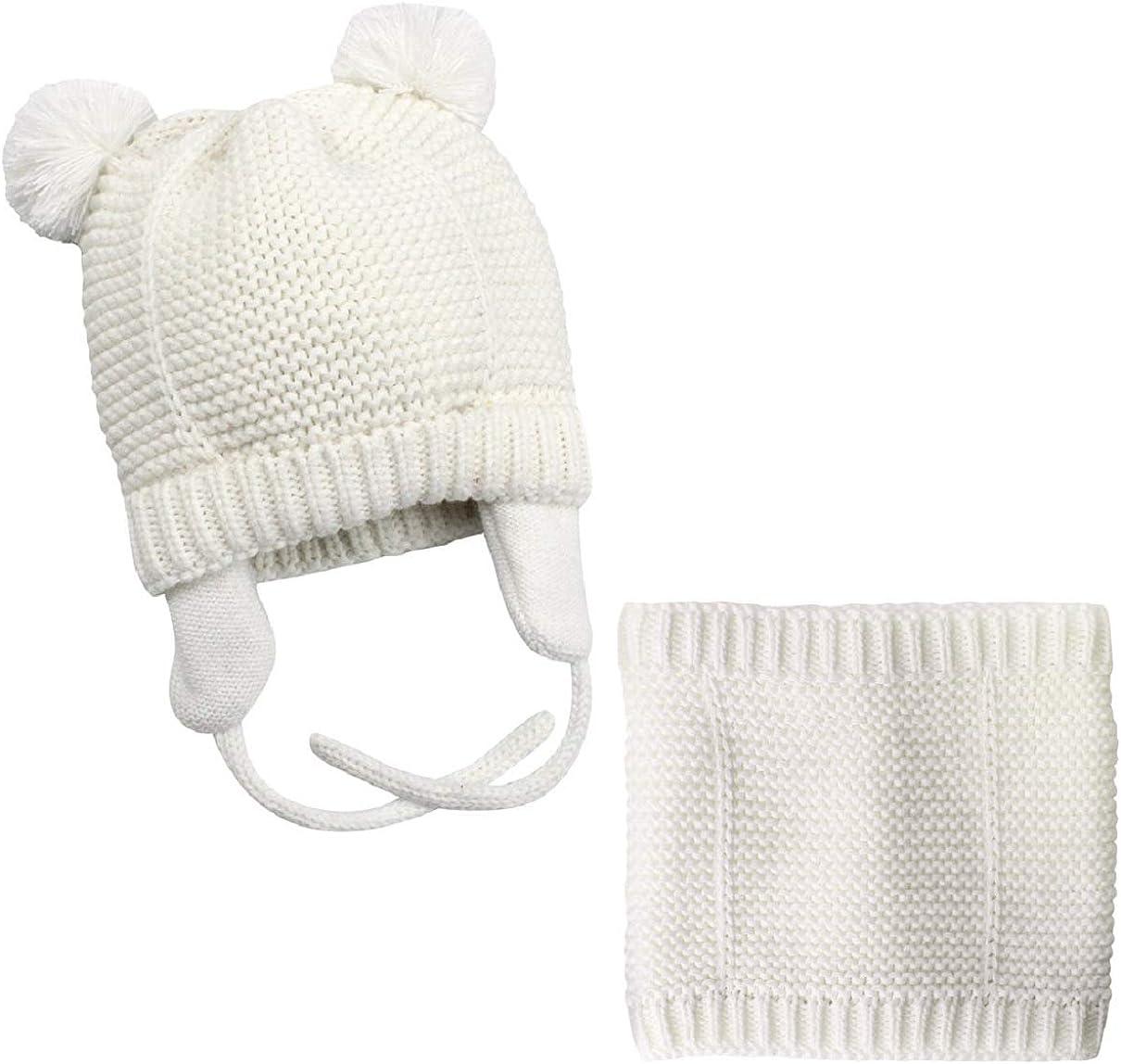 UMIPUBO Beb/é Sombrero y Bufandas Invierno Tejido Gorro Punto Caliente Lana Cofia Capucha Bufanda Caps Sombreros