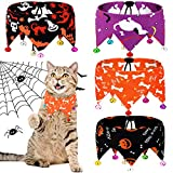 Weewooday 4 Piece Dogs Bandanas Dogs Collar with Bells Adjustable Pumpkin Pet Cat Bandana Neck Chain Choker Jewelry Cosplay Party Costume for Halloween Party (Pumpkin, Dog Bone, Ghost)