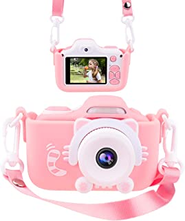 Joytrip Kids Camera for Girls Gifts HD 2.0 Inches Screen Kids Video Camera Anti-Drop Children Selfie Toy Camera Mini Cartoon Child Camcorder for 3-14-Year-Old with Soft Silicone Case (Pink)