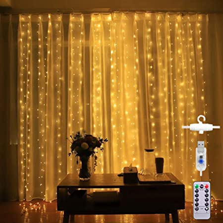Led Curtain Lights 8 Modes USB with Remote for Home Room Bedroom Wedding Party Christmas Window Wall Decorations (Warm White)
