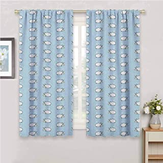 GUUVOR Baby Premium Blackout Curtains Counting Sheep Pattern Sleeping Monsters Sweet Dreams Moon Cute Childish Design Kindergarten Noise Reduction Curtains W63 x L72 Inch Pale Blue White