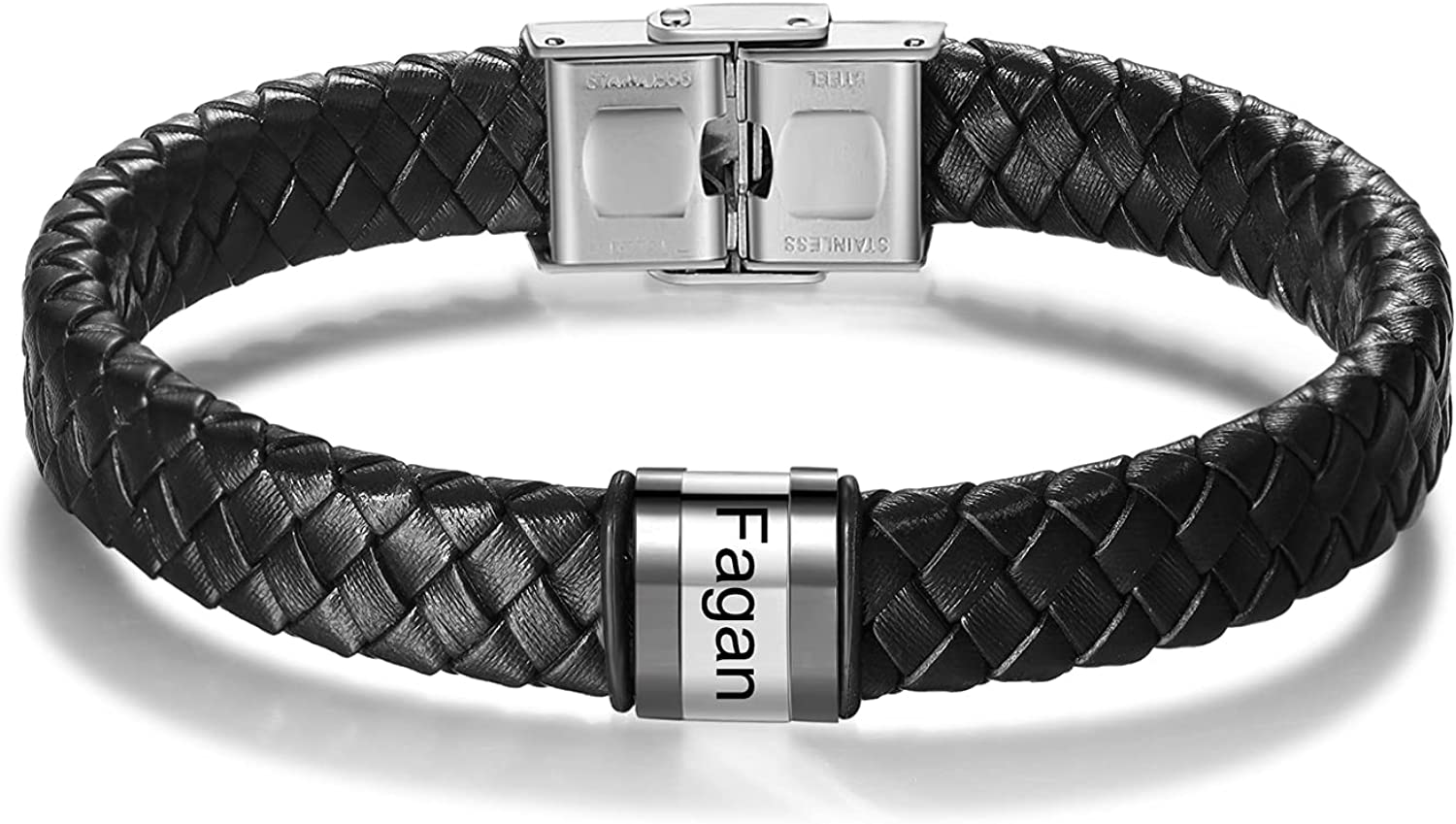 Sale Special Price Personalized Mens Black 5 ☆ popular Leather Bracelets Engraving Inc Free 8.2