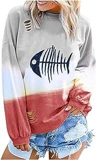 Shusuen Womens Sweatshirt Casual Gradient Colorblock Long Sleeve T-Shirt Pullover Top Shirt