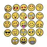 XUNHUI Mixed Emoji Iron on Embroidery Patches for Clothing Jeans Jacket Kids Patches Stripes Stickers for Clothes Decoration 23Pcs/Set