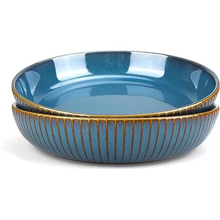 21cm Assiette Creuse,Assiette à Saladier en Céramique, Lot de 2 Assiette Plate,Bleu