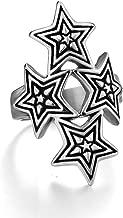 SAINTHERO Vintage Pentagram Pentacle Black Silver Stainless Steel Ring for Women's