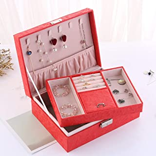 XX_C Jewellery Boxes & Organisers Jewelry Box, Leather Jewellery Box Organiser Storage Box with Mirror Storage Box, Ring, Bracelet, Earrings, Necklace (Color : Red)