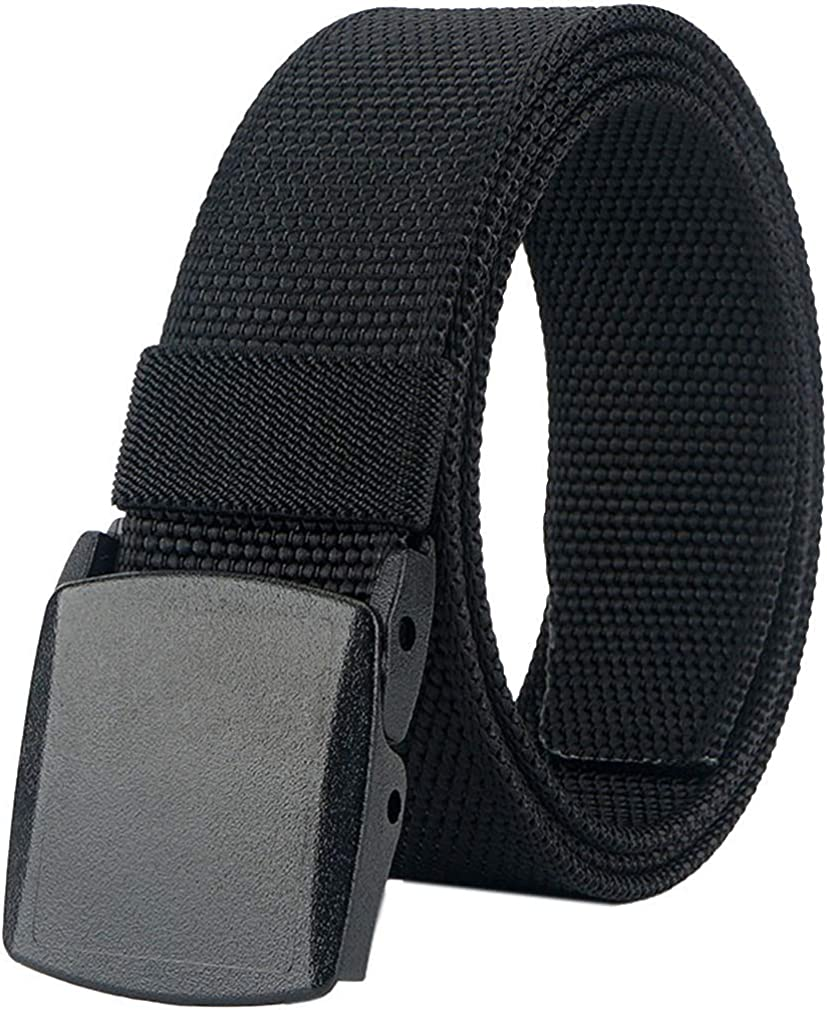Mens Belt Web,Nylon Webbing Canvas Outdoor Casual Belt with Plastic Buckle Breathable for Work Sports